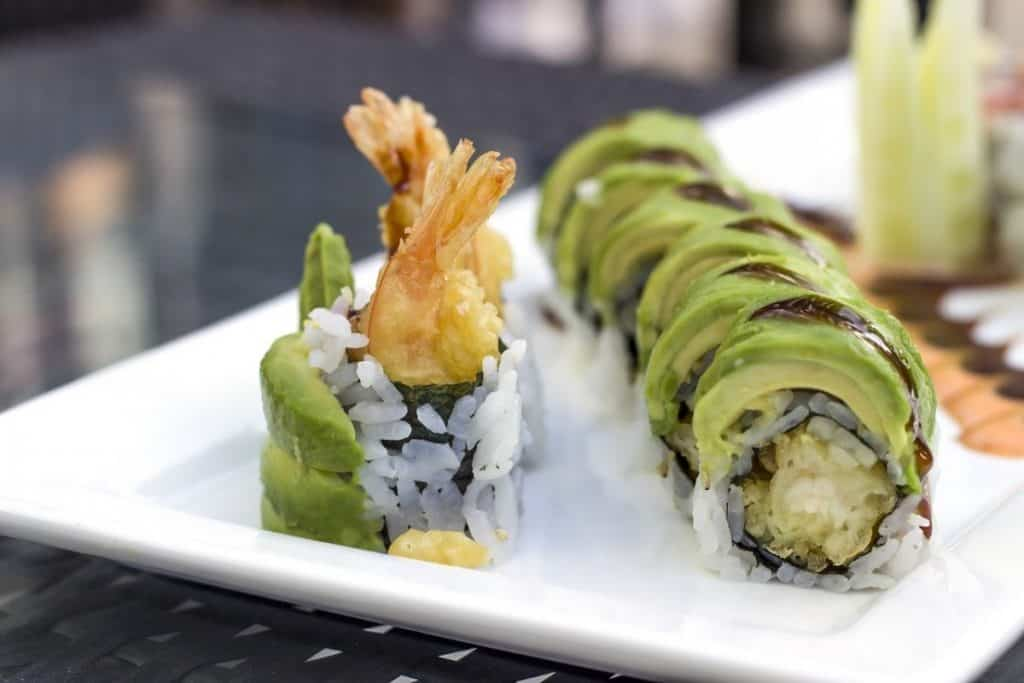 sushi with fried shrimp in a roll