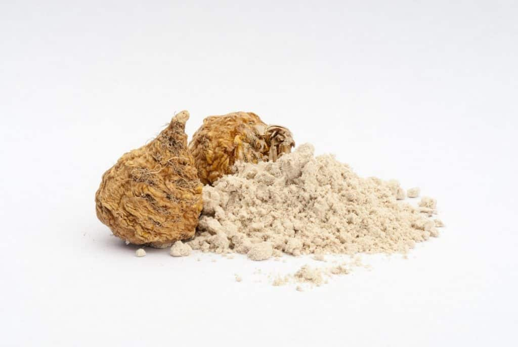 fresh maca root with dried maca powder