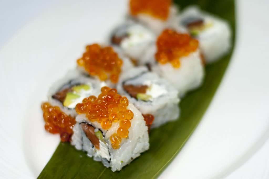 fish eggs on sushi