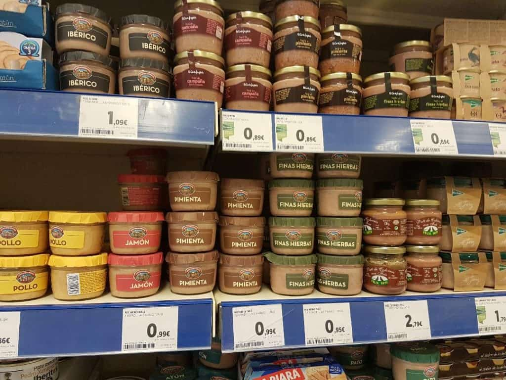 canned pate on a shelf