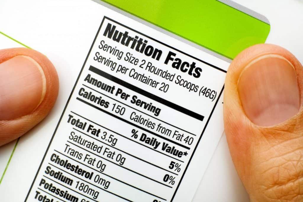 protein powder nutritional label