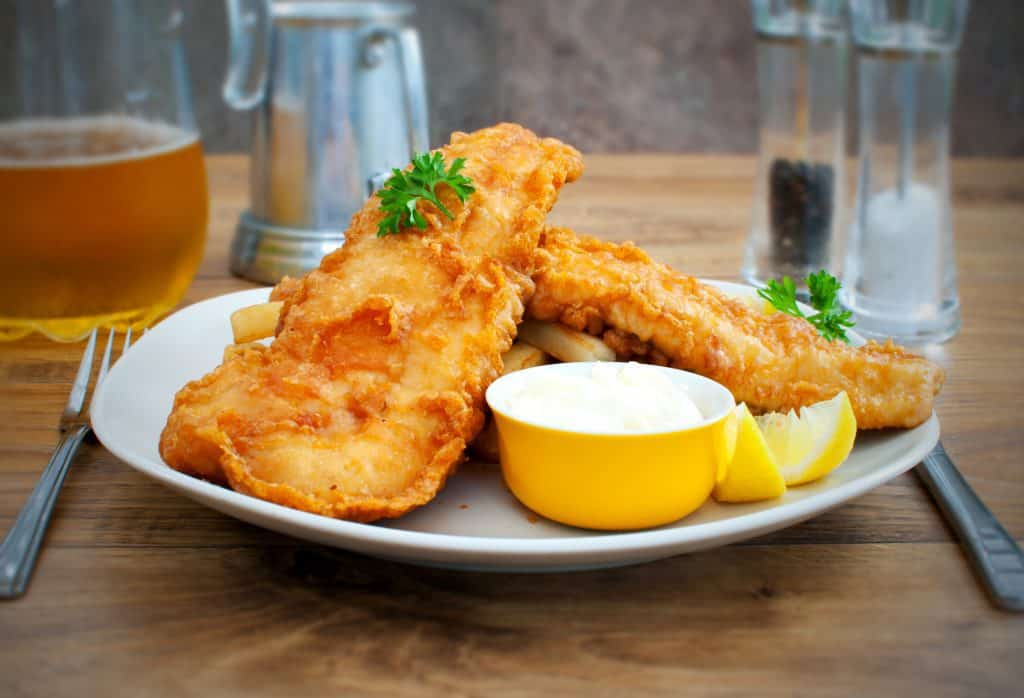 cod fish and chips with deep fried cod