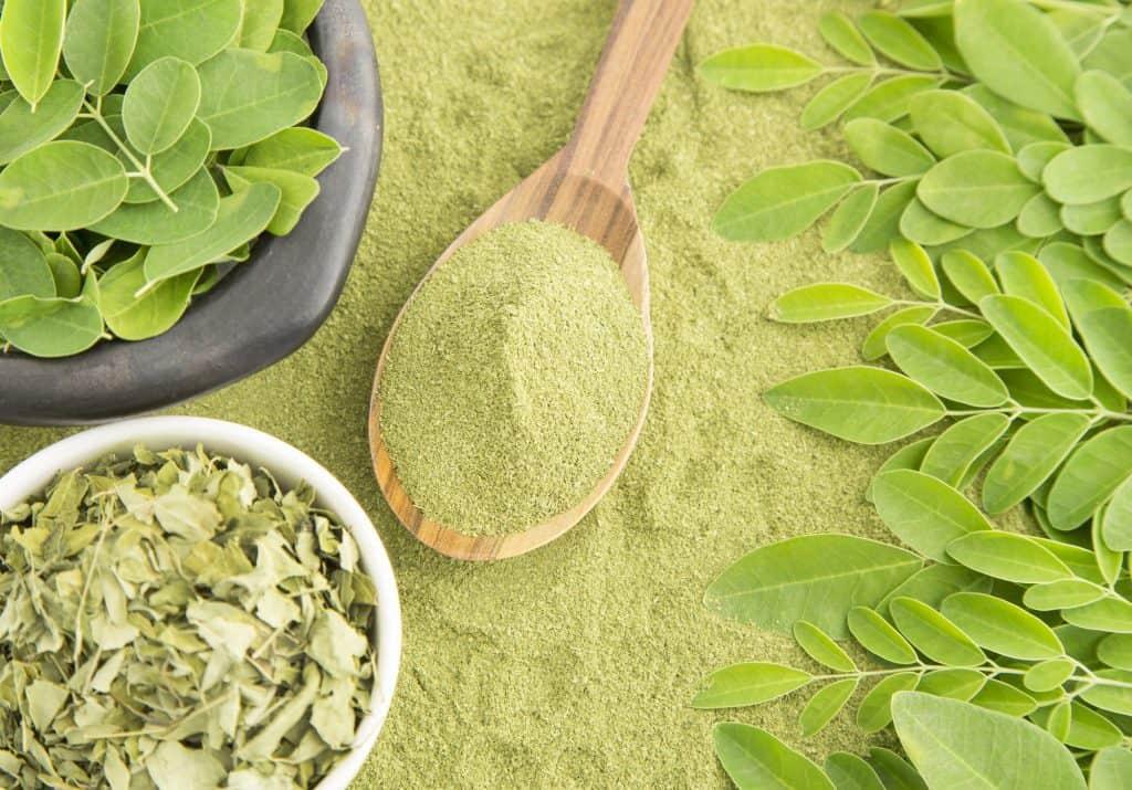 moringa leaves, fried moringa and powder