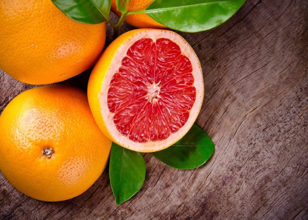 freshly harvested grapefruit