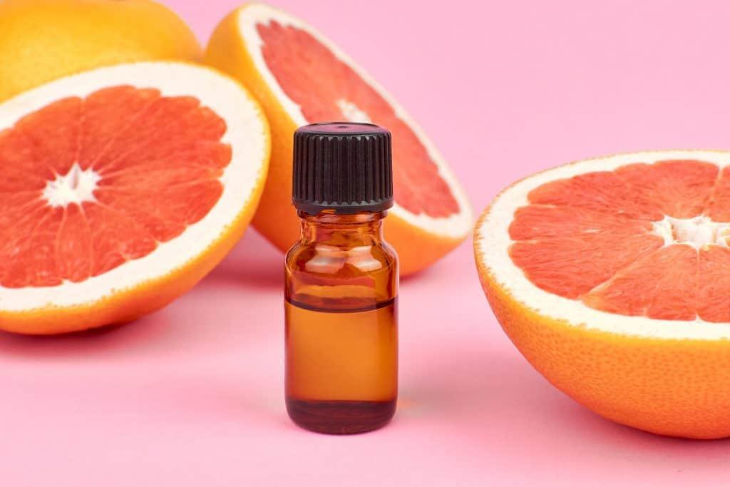 grapefruit essential oil in a bottle