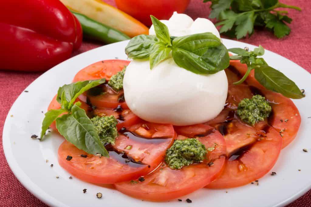 burrata cheese with fresh tomatoes and basil